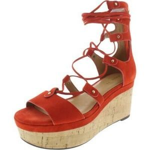 Coach Barkley Carmine suede cork wedge platform